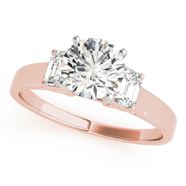 Three Stone Emerald Cut Diamond Engagement Ring in Rose Gold
