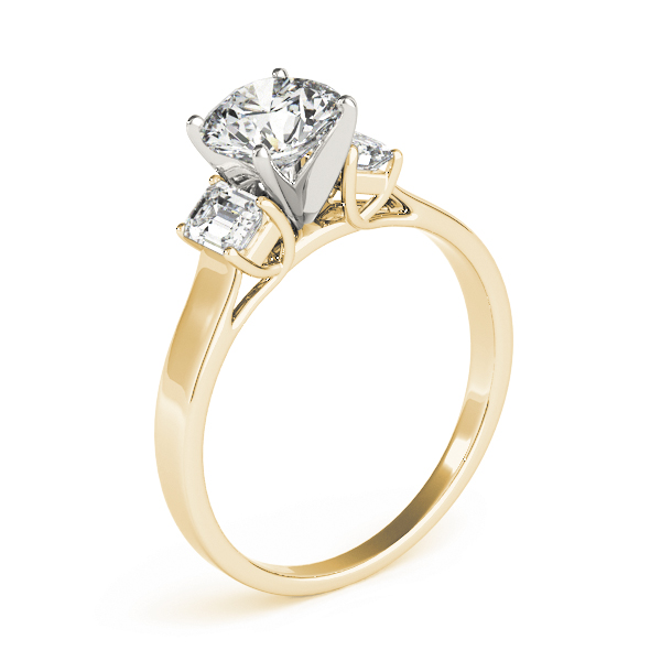 Three Stone Emerald Cut Diamond Engagement Ring in Yellow Gold