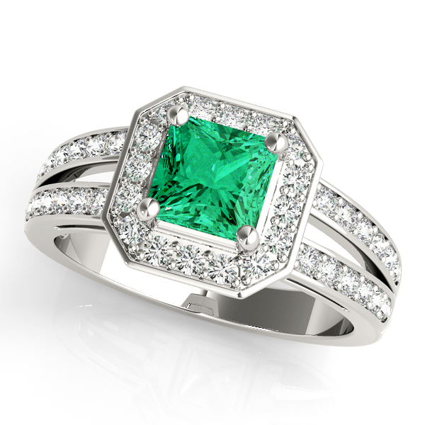 Green Emerald Octagon Halo Ring
