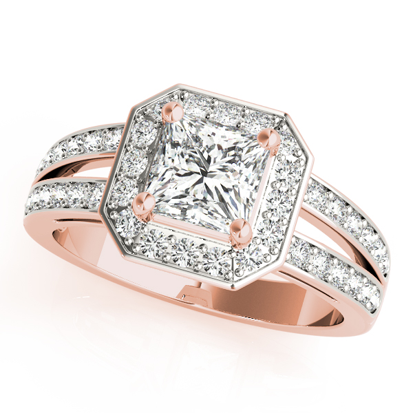 Radiant Octagon Halo Split Ring Rose Gold