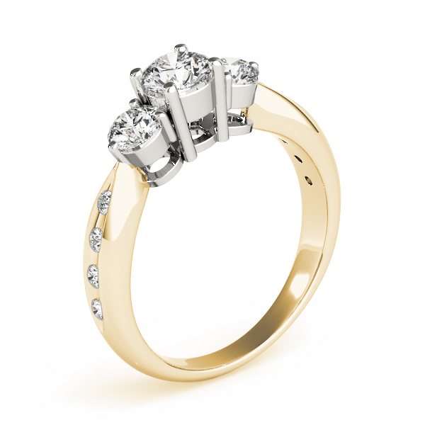 Three Stone Diamond Engagement Ring in Two Tone