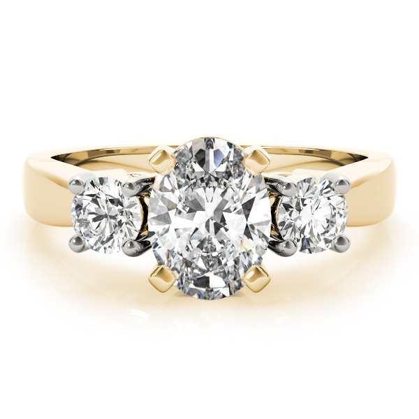 3 Stone Oval Engagement Ring Yellow Gold