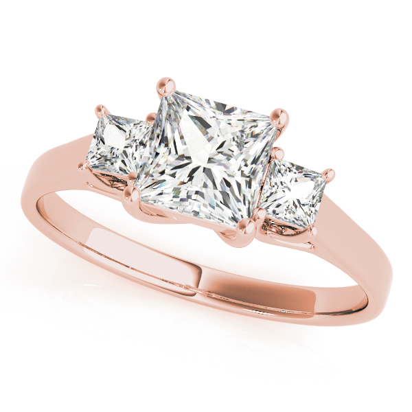 Three Stone Princess Cut Trellis Diamond Engagement Ring in Rose Gold