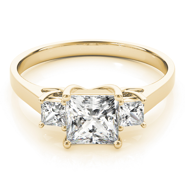 Three Stone Princess Cut Trellis Diamond Anniversary Ring in Yellow Gold