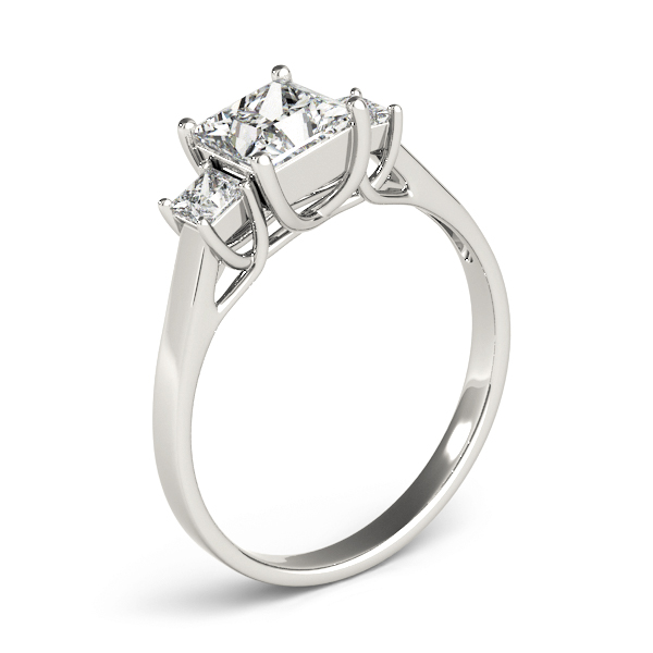 Three Stone Princess Cut Trellis Diamond Engagement Ring