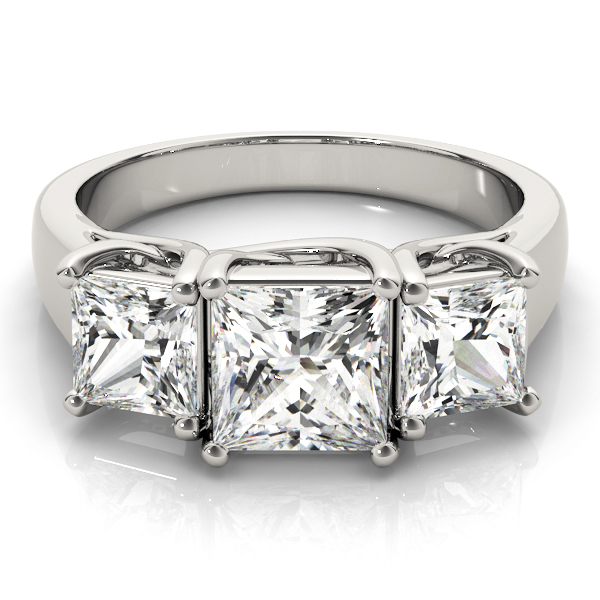 Three Stone Princess Cut Trellis Diamond Engagement Ring in Platinum