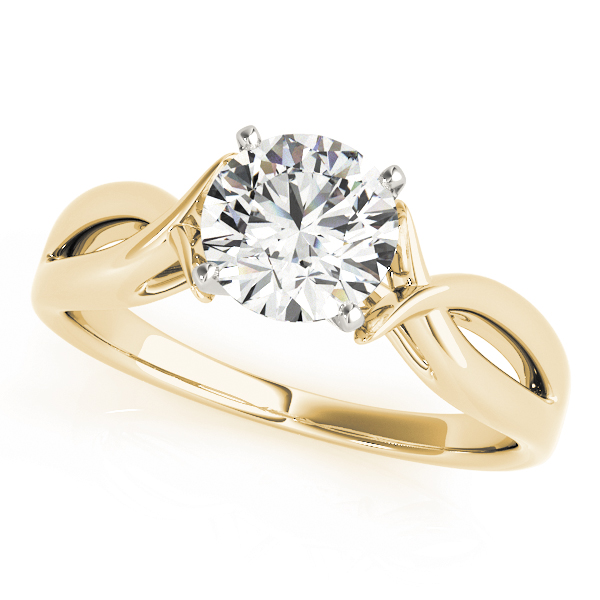Cathedral Fish Engagement Ring in Yellow Gold