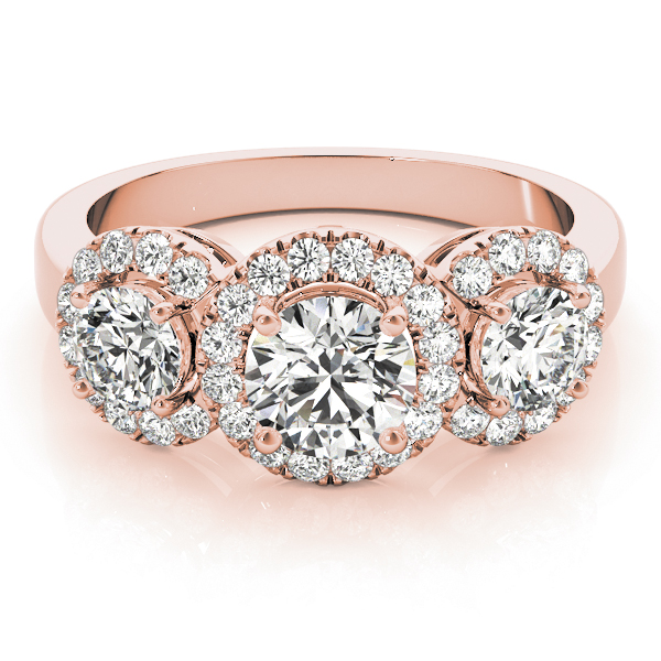 Three Stone Halo Diamond Engagement Ring in Rose Gold