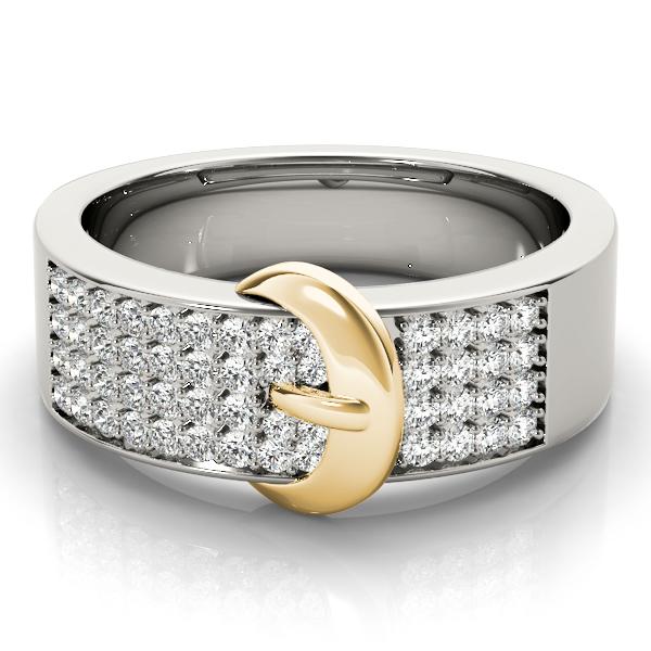 Diamond Buckle Ring Yellow Gold