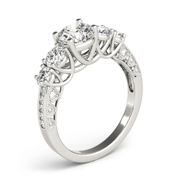Vintage Five Stone Diamond Trellis Engagement Ring