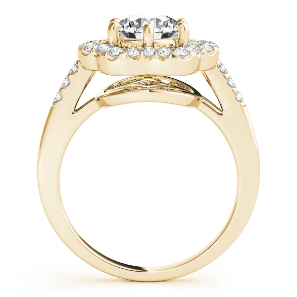 Round Floral Halo Diamond Ring Yellow Gold