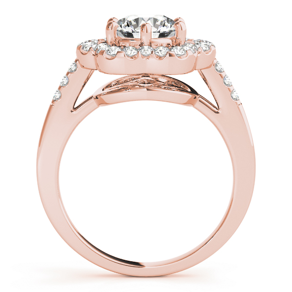 Round Floral Halo Diamond Ring Rose Gold