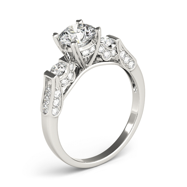 Three Stone Vintage Pave Engagement Ring