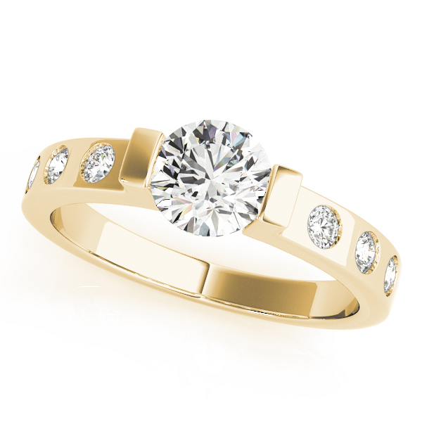 Low Profile Bezel Diamond Engagement Ring in Yellow Gold
