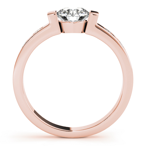 Low Profile Bezel Diamond Engagement Ring in Rose Gold