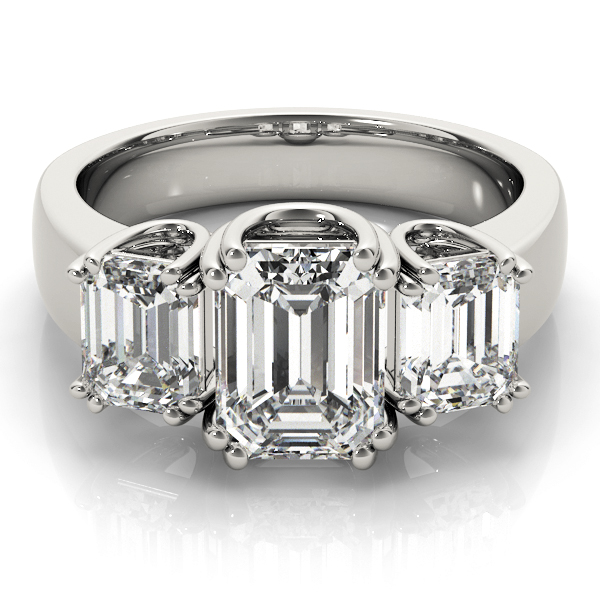Three Stone Emerald Cut Diamond, U prongs, Engagement Ring