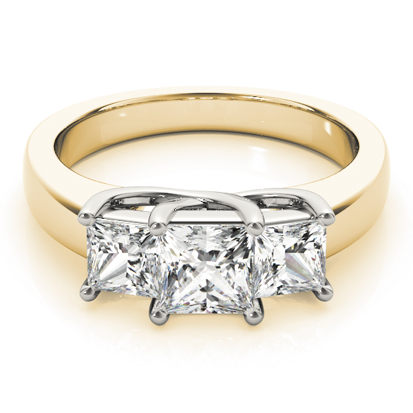 Classic Three Stone Trellis Princess Cut Diamond Ring in Yellow Gold