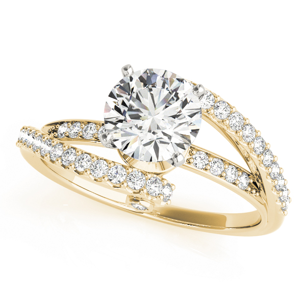 Pave Swirl Diamond Engagement Ring in Yellow Gold