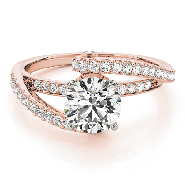 Pave Swirl Diamond Engagement Ring in Rose Gold