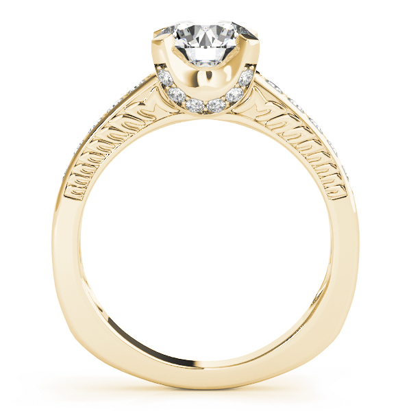 Vintage Diamond Engagement Ring, Engraved Band in Yellow Gold