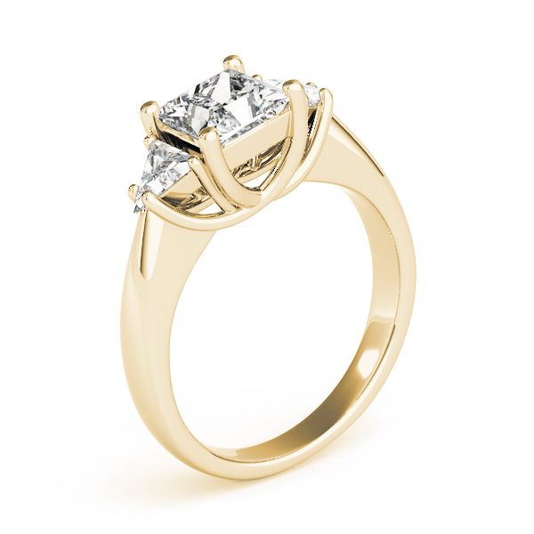 Princess - Trillion Diamond Classic Engagement Ring in Yellow Gold