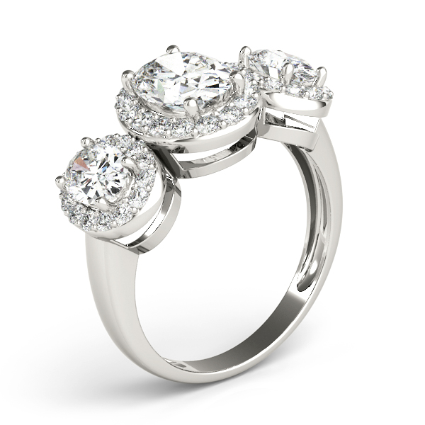 Three Stone Oval Halo Engagement Ring