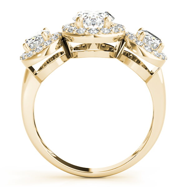 3 Stone Oval Halo Ring Yellow Gold