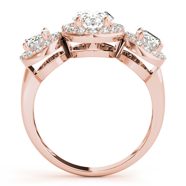 3 Stone Oval Halo Ring Rose Gold