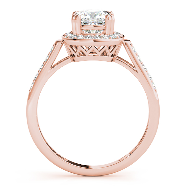 Cushion Halo Filigree Engagement Ring Rose Gold