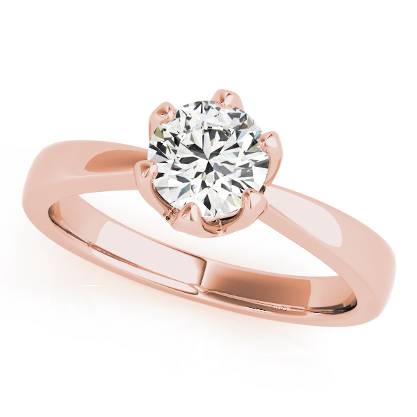 Classic Solitaire Crown Engagement Ring in Rose Gold