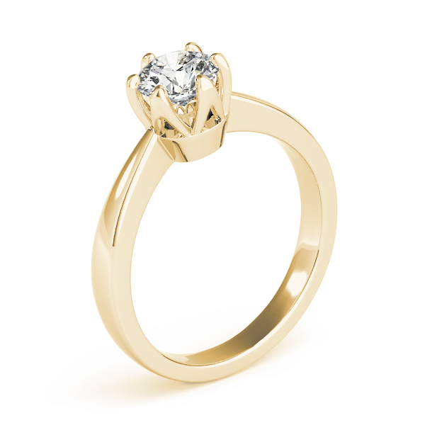 Classic Solitaire Crown Engagement Ring in Yellow Gold