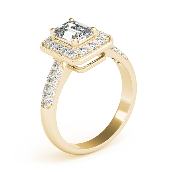 Emerald Diamond Halo Etoil Ring Yellow Gold