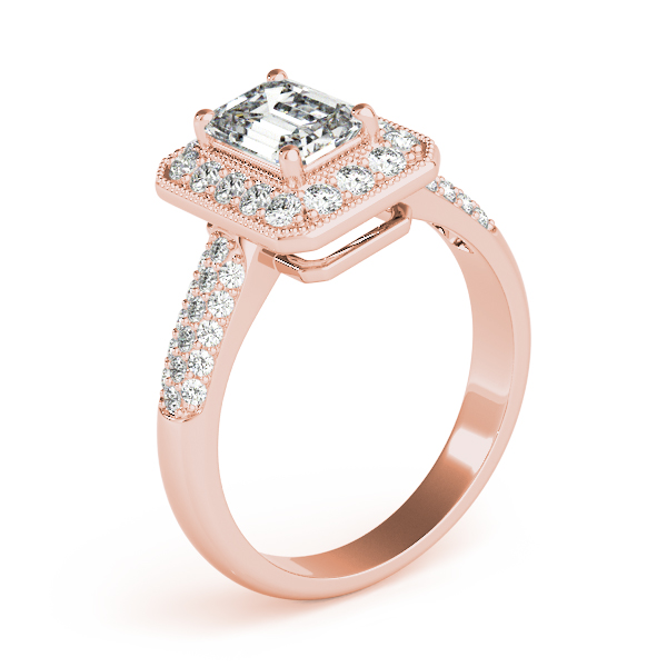 Emerald Diamond Halo Etoil Ring Rose Gold