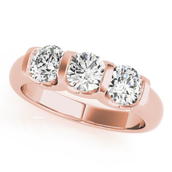 Three Stone Anniversary Ring in Rose Gold