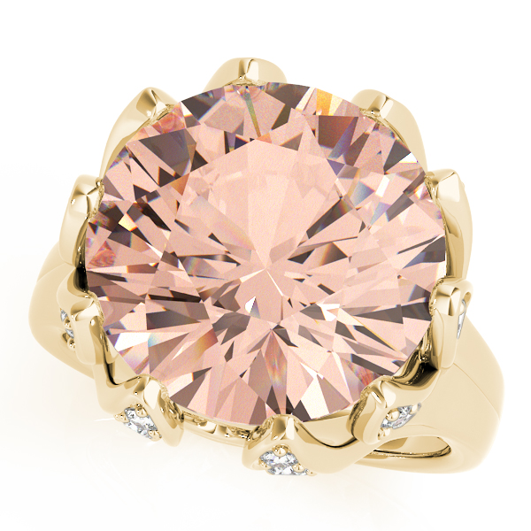 Large Peach Morganite Cocktail Ring Yellow Gold