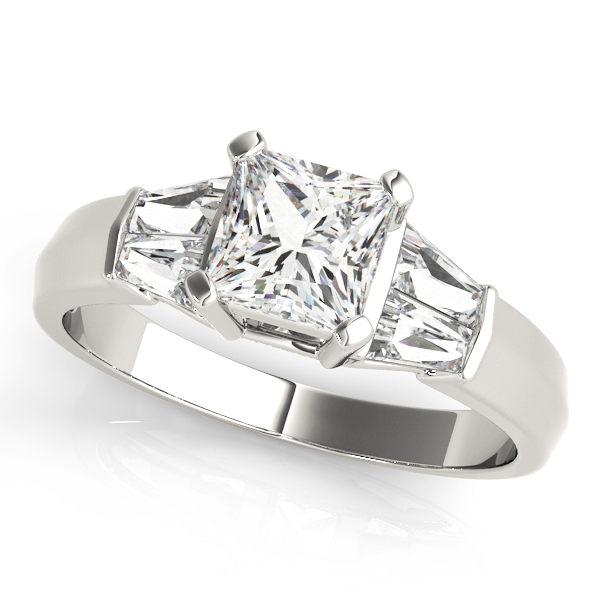 Classic Diamond Engagement Ring with Baguettes