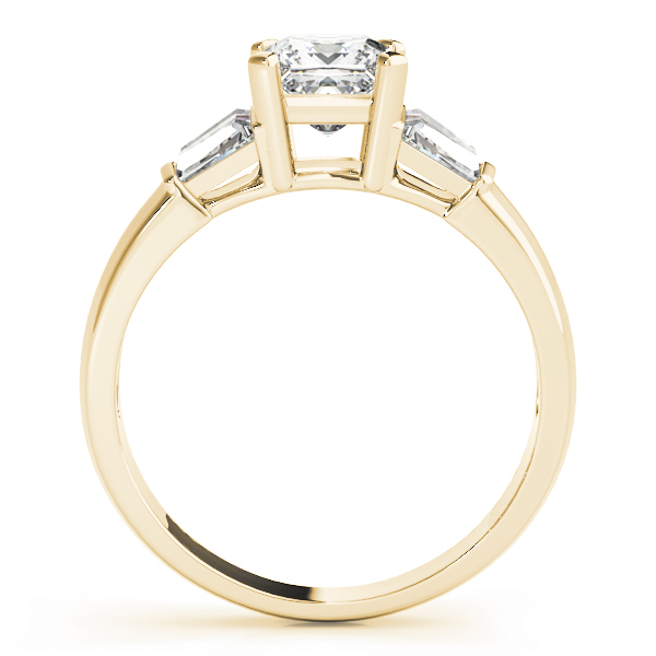 Classic Diamond Engagement Ring with Baguettes Yellow Gold