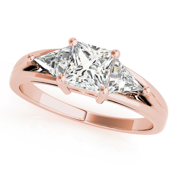 Three Stone Princess - Trillion Diamond Engagement Ring in Rose Gold