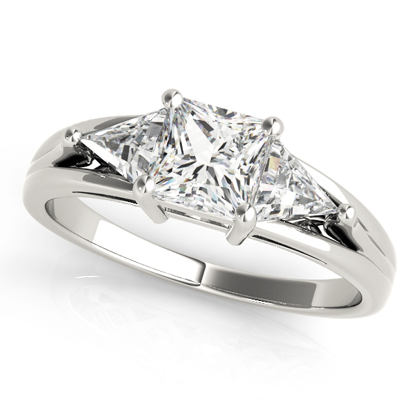 Three Stone Princess - Trillion Diamond Engagement Ring