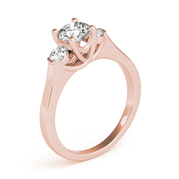 Petite Three Stone Diamond Trellis Engagement Ring in Rose Gold
