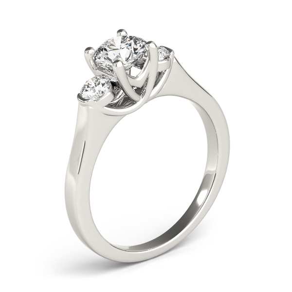 Petite Three Stone Diamond Trellis Engagement Ring