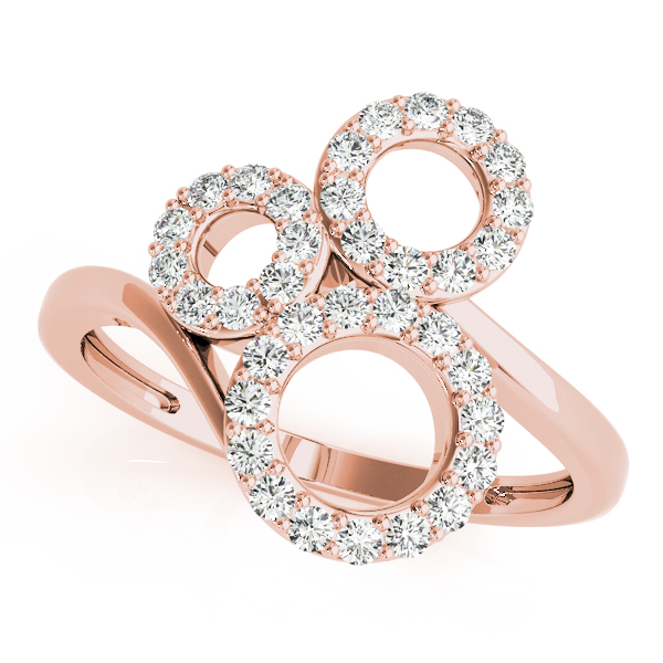 3 Circle Diamond Swirl Ring Rose Gold