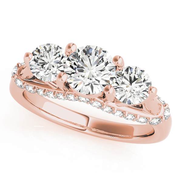 Three Stone Trellis Diamond Engagement Ring in Rose Gold