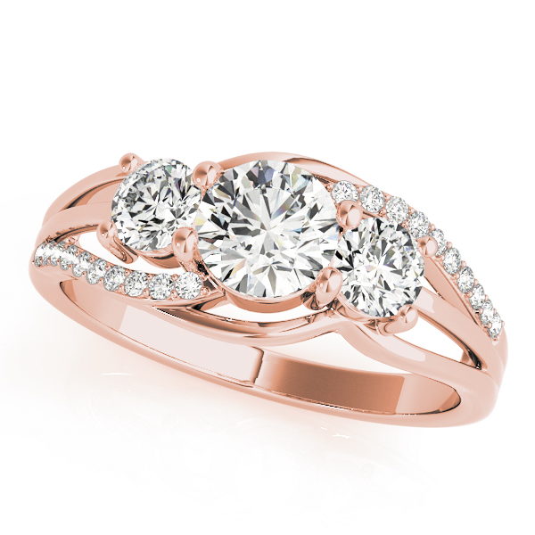 Three Stone Swirl Anniversary Ring in Rose Gold