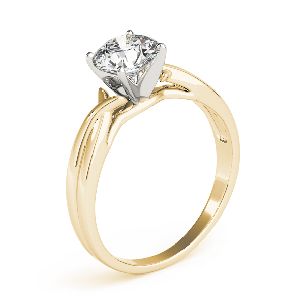 Petite Split Band Solitaire Engagement Ring in Yellow Gold