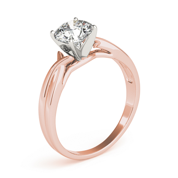 Petite Split Band Solitaire Engagement Ring in Rose Gold