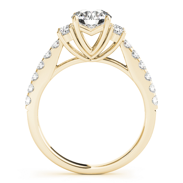 Petite Cathedral Diamond Engagement Ring in Yellow Gold