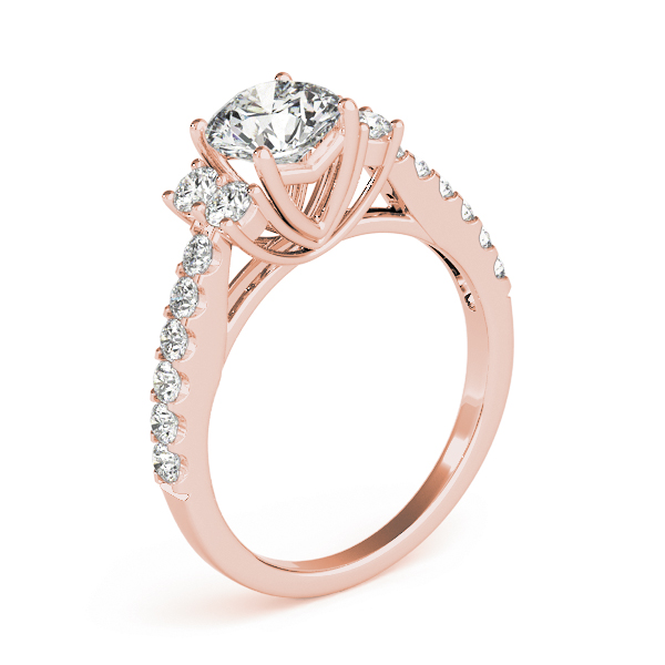 Petite Cathedral Diamond Engagement Ring in Rose Gold