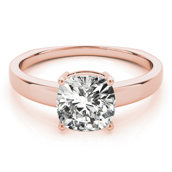 Cushion Solitaire Euro Shank Engagement Rose Gold