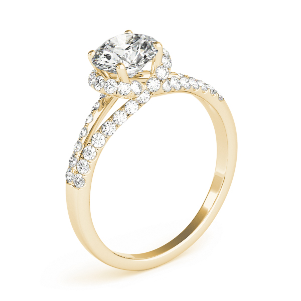 Criss Cross Halo Diamond Engagement Ring, Split Band in Yellow Gold